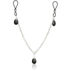 California Exotic: Non-Piercing, Nipple Chain Jewelry, Onyx Silver, Svart