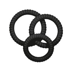 You2Toys: Lust 3 Penisringar, svart, 3-pack Svart