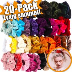 Hårband sammet | Scrunchies | 20-pack Multi