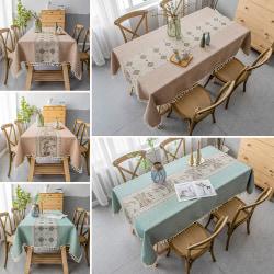 Bomullslinne tofs bordsduk rektangel tvättbar heminredning Kaffe landskap 140x220cm
