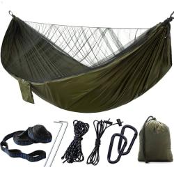 Camping Auto Snabböppen hängmatta med / Myggnät hängande säng Army Green