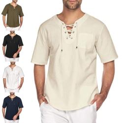 Casual tröja med en vanlig snörningströja för män Mörkblå XL