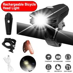 Cykelstrålkastare Bakljus Set USB uppladdningsbar LED 300lm Strålkastare + Bakljus