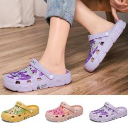 Dam sandaler sommar mjuka sulor hål skor vackra tofflor Violett 39