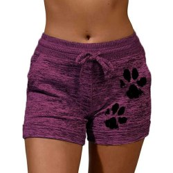 Dam Sweatshorts Kattens Tass Tryckt Tillfällig Hot Pants Shorts Lila 3XL