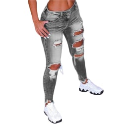 Dam Tillfällig Jeans Rippade Leggings Jeggings Elasticitetsbyxor Grå L