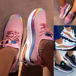 Damer gym löparskor färg reflekterande enkla skor Rosa 43