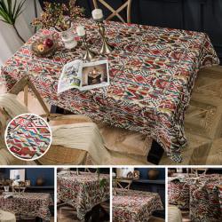 Geometriskt bordsduk Bomullslinne matsalsbord Färgrik 140x300cm