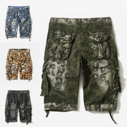 Herr Camouflage Cargo Pants Loose Sports Pocket Shorts Blå 38