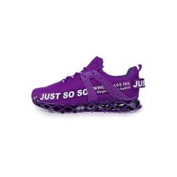 Herr sportskor flyger vävda mesh skor mode casual skor violett 43