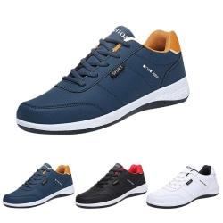 Herrmode avslappnade halkfria sneakers andas fitness tennisskor Blå 43