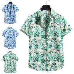 Herrskjorta Beach Button T-Shirt Top Grön S