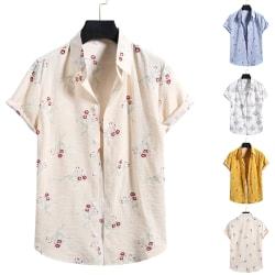 Herrskjorta Casual blommig kortärmad knapp Beach T-shirt topp Vit XL