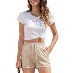 Kvinnor Beachshorts Workout Fitness Shorts Heta Byxor Bomull Aprikos XXL