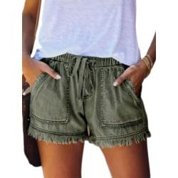 Kvinnor Jeans Med Hög Midja Tofsar Wide Leg Shorts Hot Pants Grön XXL