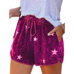 Kvinnor Linnesstrandshorts Tillfällig Wide Leg Yoga Hot Pants Lila 3XL