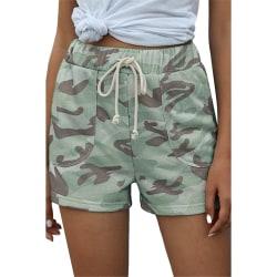 Kvinnor Tillfällig Strand Shorts Camouflage Hot Pants Running Ljusgrön XL