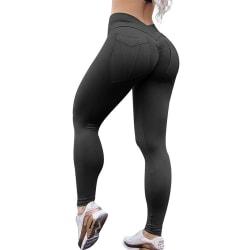 Kvinnor Yoga Pant Leggings Sportbyxor Running Kondition Jeggings Svart L