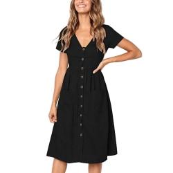 Kvinnors avslappnad klänning kortärmad T-shirt Svart M