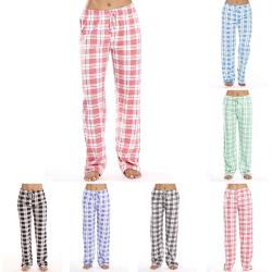 Kvinnors Avslappnade Rutiga Lösa Pyjamasbyxor Nattkläder Lounge Grå M
