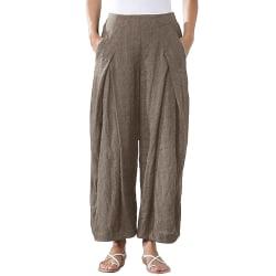 Kvinnors Bomull Tillfällig Harem Lösa Byxor Loungewear Byxor Brun L
