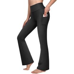 Kvinnors hög midja flare yoga byxor sport fitness byxor Svart XL