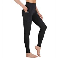 Kvinnors hög midja yoga stretch fitness byxfickor svart M
