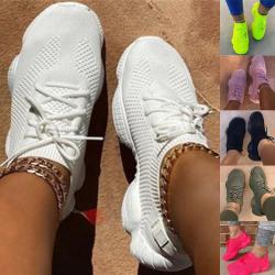 Kvinnors mesh sneakers Atletisk skor Trainers snörning andas Svart 38