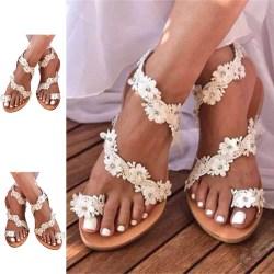 Kvinnors platta sandaler casual skor mönster skor lätt och andas Vit 38