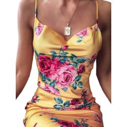 Kvinnors sexiga slyngklänning Slim kvällsklänning Gul XL