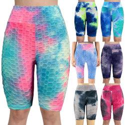 Kvinnors Sommar Tie-Dye Bläck Jacquard Bubbla Yoga Byxor Lila L