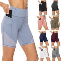 Kvinnors Yogashorts Med Hög Midja Gym Leggings Träningsbyxor Svart L