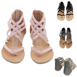 Ladies Lace Gladiator Sandaler Thong Tofflor Flats Rosa 36