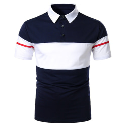 Män dubbel färg kontrast polotröja kortärmad topptröja Navy Blue L