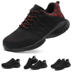 Mäns andningsbara ståltå halkfria skor anti-krossande sneakers Röd 40