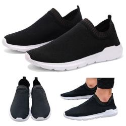 Mäns mode mesh sneakers utomhus fitness skor andas casual skor Svart 41