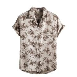 Mäns tryckt skjorta Casual Beach T-shirt kortärmad Silver XXL