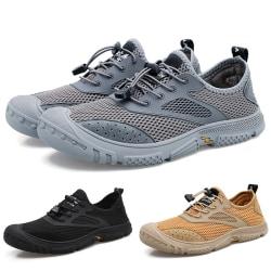 Mäns vandringsskor utomhus mesh sportskor casual skor Svart 38