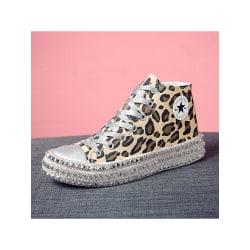 Platåskor för kvinnor med snörning i casual skor Leopard hög topp 40