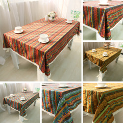 Randig bordsduk Bomullslinne fyrkantig rektangel matbord Blå 90x90cm