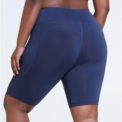 Shorts för kvinnor Push Up Fickor Sport Workout Gym Hot Pants marinblå L