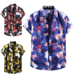 Summer Men Gradient Shirt Hawaiian Vacation Jacket Röd XL