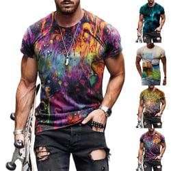 T-shirt för män sommar avslappnad löst tröja Vit XXL