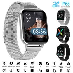 "Unisex Smart Watch IP68 1,78 ""Sleep Monitor Fitness Tracker Svart Silikon"
