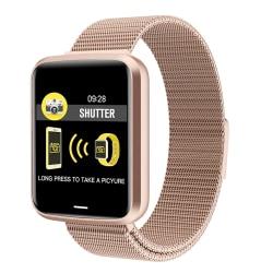 Unisex Smart Watch Sleep Monitor Motion Records påminnelse Guld Stål