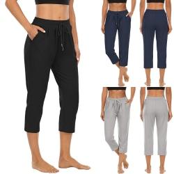 Yogabyxor Med Hög Midja För Kvinnor Capri Running Bekväma Byxor Mörkblå XXL