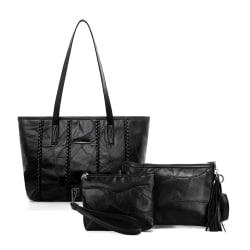 Handväskan, axelremsväskan och cosmetic bag, äkta lammskinn  978 Black one size