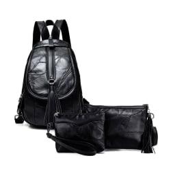 Ryggsäcken, axelremsväskan och cosmetic bag, lammskinn 5902-1 Svart one size