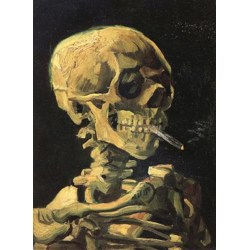 Skull with Burning Cigarette,Vincent Van Gogh,32x24.5cm multifärg