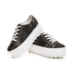 Sneakers i kamouflage med 5 cm höga sulor Green 39